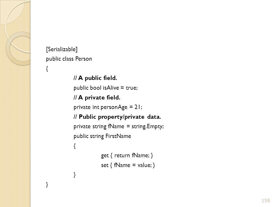 [Serializable] public class Person { // A public field